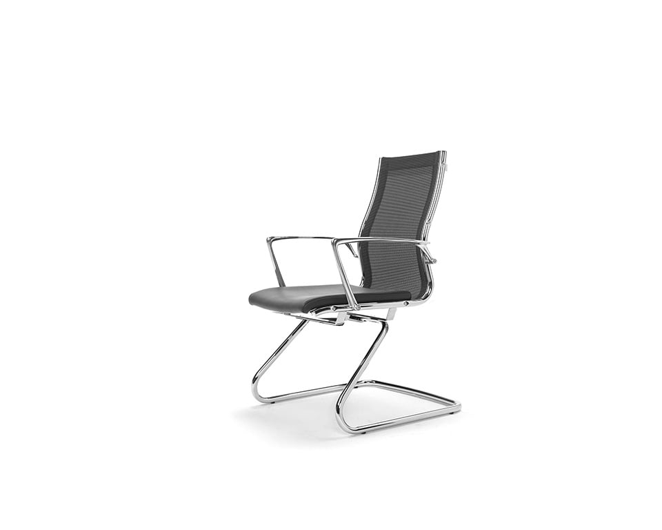 Havana Mini cantilever visitors chair in black leather and black net weave upholstery