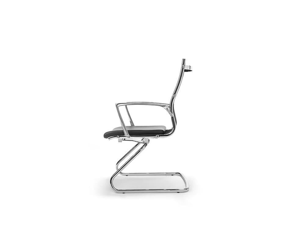 Havana Mini cantilever visitors chair in black leather and black mesh upholstery