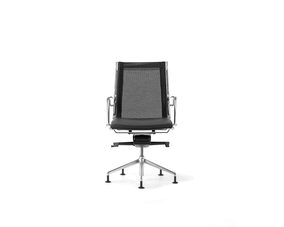 Havana Mini Meeting room chair on 4 spoke base black leather and black mesh upholstery