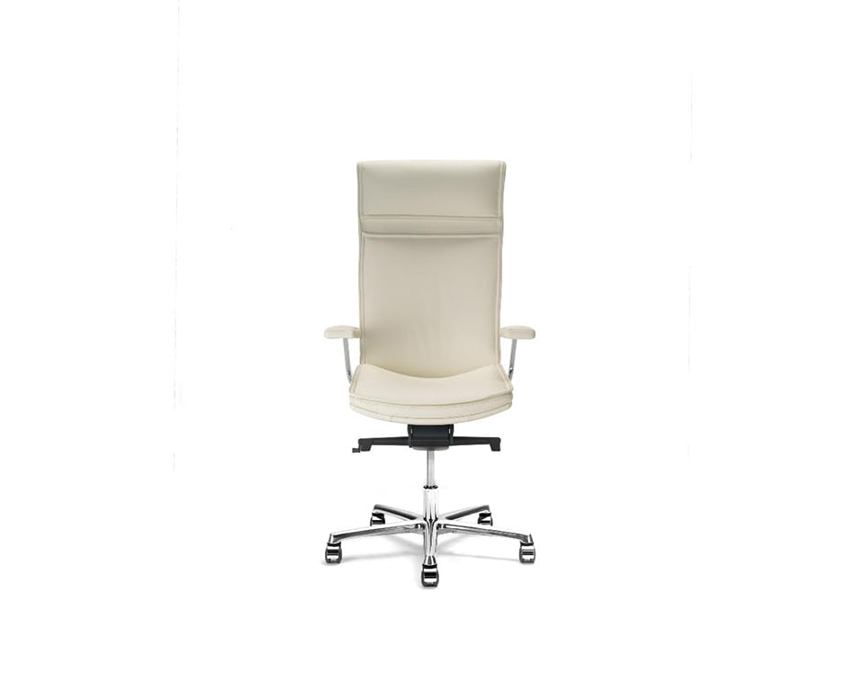 Idesia high back Leather executive office chairs and boardroom cream leather- view from the front