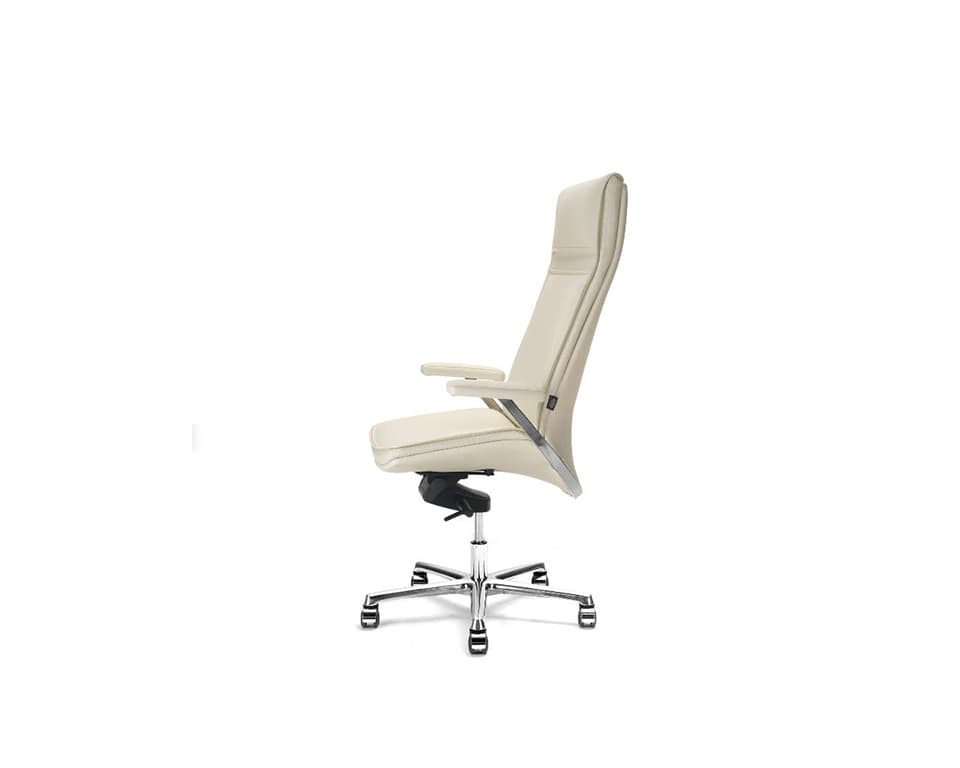 Idesia high back Leather executive office chairs and boardroom cream leather- view from the side