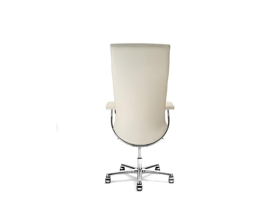 Idesia high back Leather executive office chairs and boardroom cream leather- view from the rear