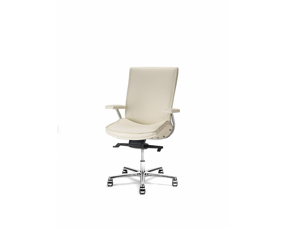 Idesia medium high back Leather executive office chairs and boardroom cream leather