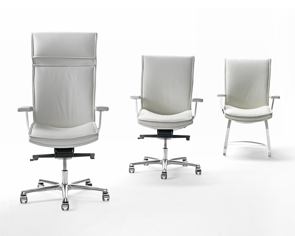 Luxury White leather executive office chairs including the high back,medium high back and the cantilever visitors chair