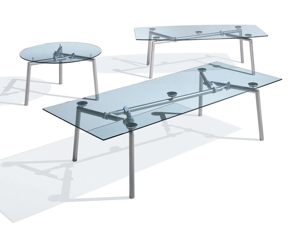 isotta boat shaped clear glass or frosted glass boardroom tables to seat 8-10 people