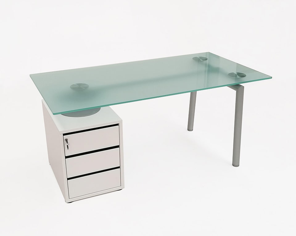 isottina small home office designer desk glass desk with lockable drawers and frosted glass desk top 1600 x 800