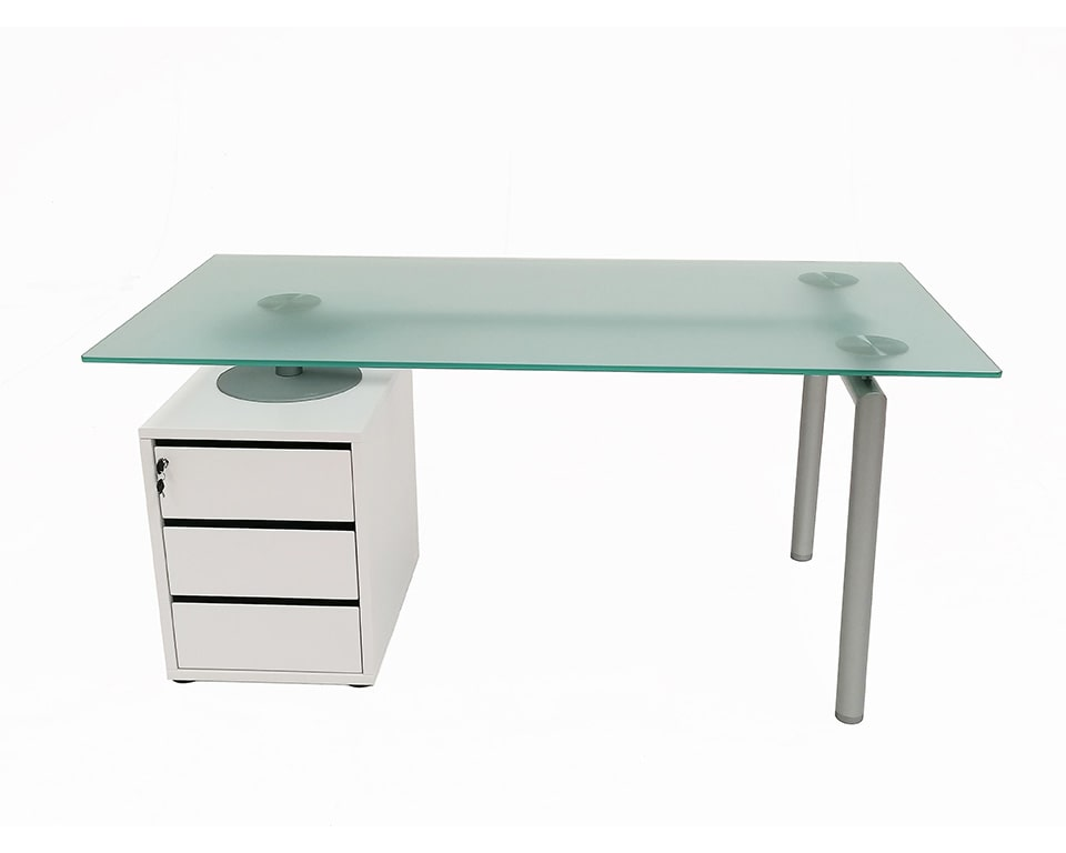isottina small home office desk with frosted glass tops