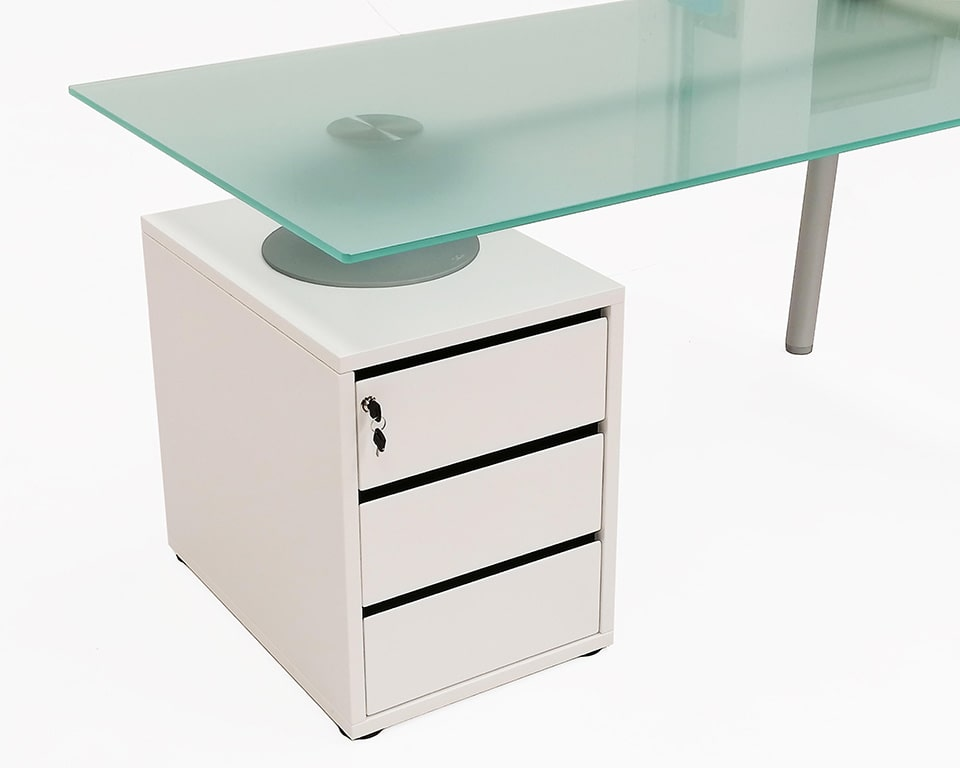isottina small home office designer desk with frosted glass tops