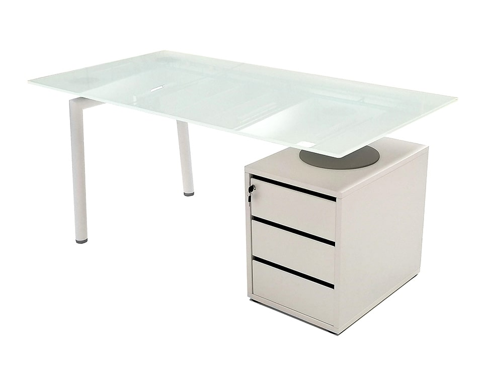 small designer 1600 mm wide white glass home office desk with white lacquered drawers