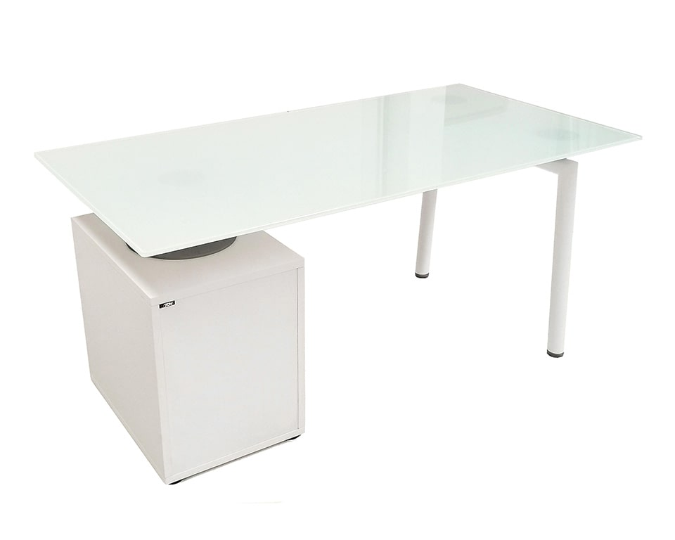 small 1600 mm wide white glass home office desk with white lacquered drawers