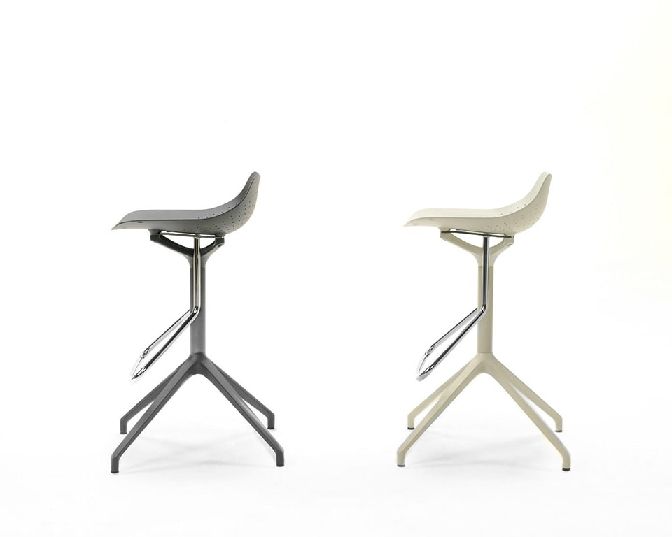 Klera fixed height swivel bar stools in recyclable aluminium in black or white
