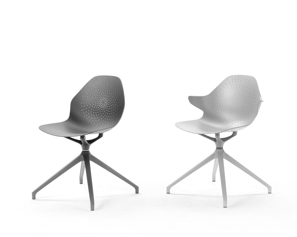 Stylish aluminium meeting room chairs with concentric circles detailing available with 4 spoke base