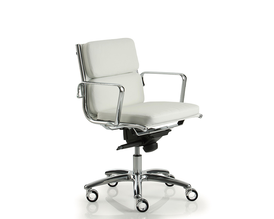 light-padded-Compact mid back executive chair in white leather