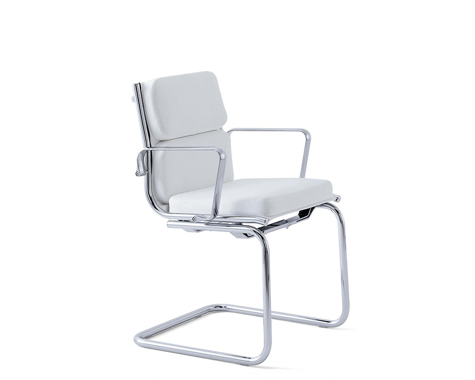 light-padded-Compact mid back executive visitors chair in white leather