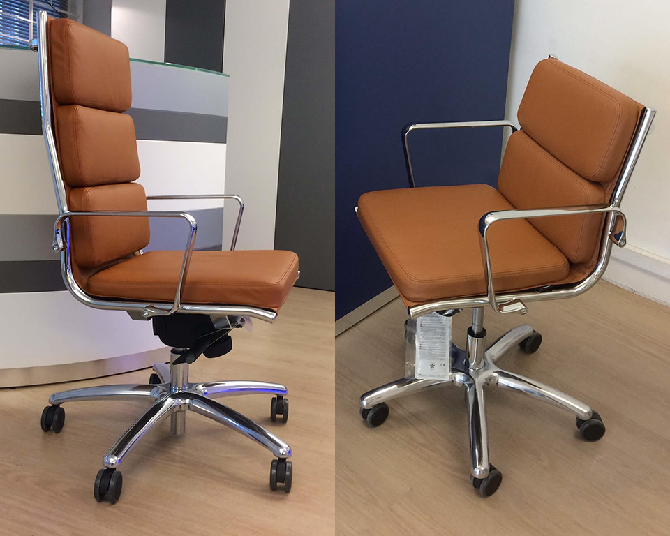 light-padded-Compact mid back and high back executive chairs in Tan leather