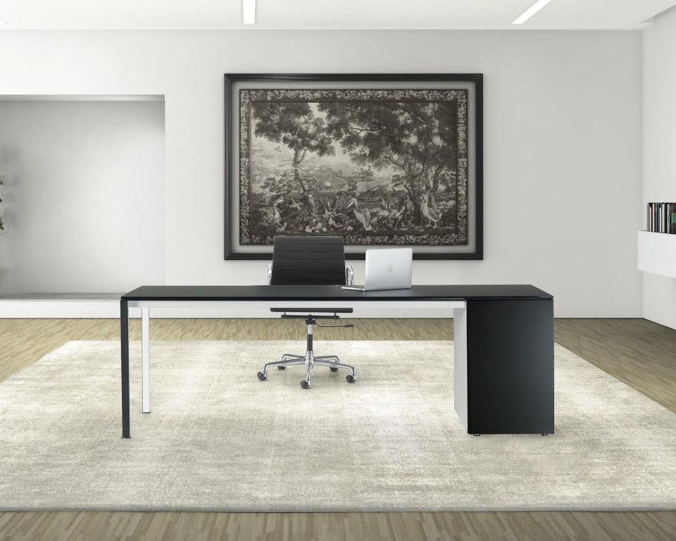 High - end home office desk in designer black satin black glass with drawers