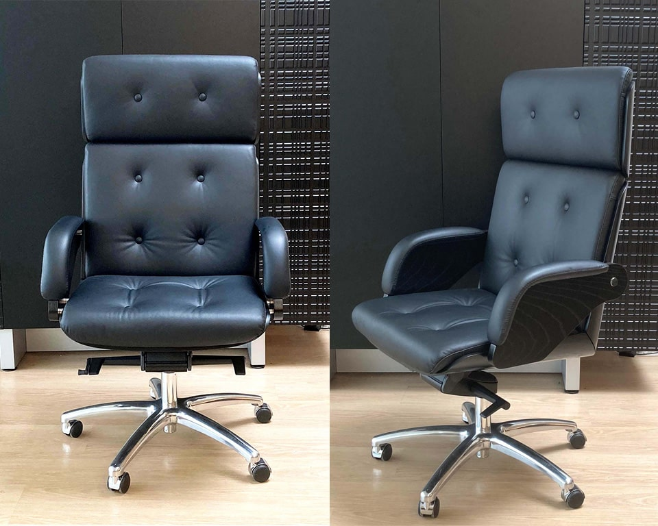 Nesi Luxury medium back executive office chairs with buttons in black Italian leather with a black ash outer back and arms die cast aluminium 5 star base