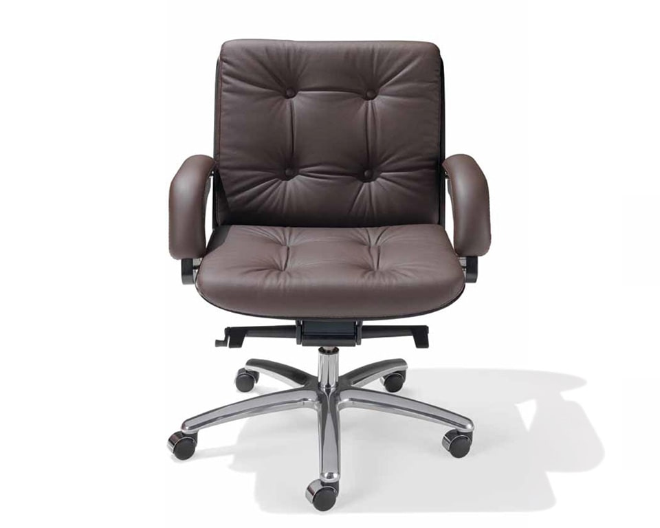 Nesi Luxury medium back executive office chairs with buttons in dark brown leather with dark oak frame