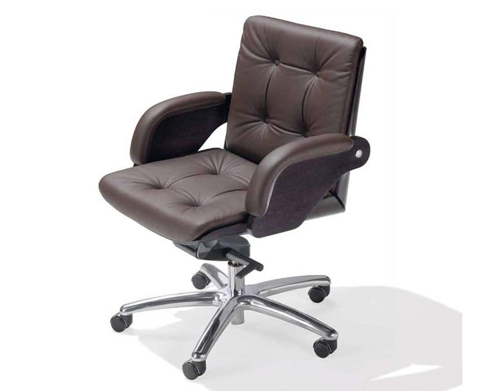Nesi Luxury medium back executive office chairs with buttons in dark brown leather with dark oak frame.
