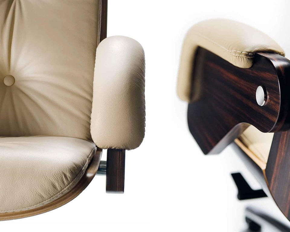 Nesi executive office chair leather and wood arm detail