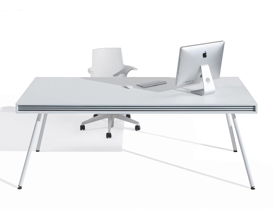 ON Stripes is a modern high quality designer desk shown here in matt white lacquered with the black and white horizontal stripes detail. This stylish white designer desk is also available in other colours