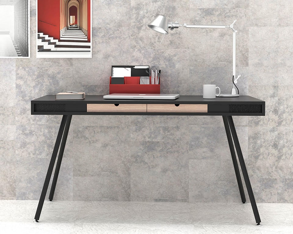 Small home office desk in matt black lacquered with two wood drawers