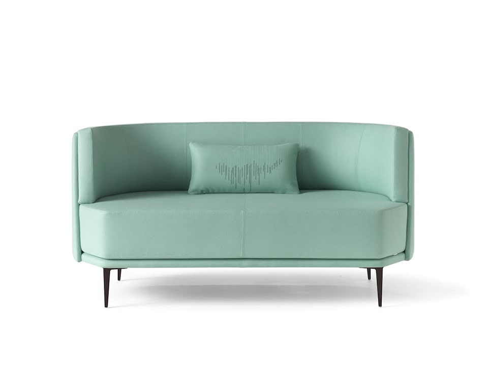 pergy compact curved sofa in leather or fabric from Italy with scatter cushions