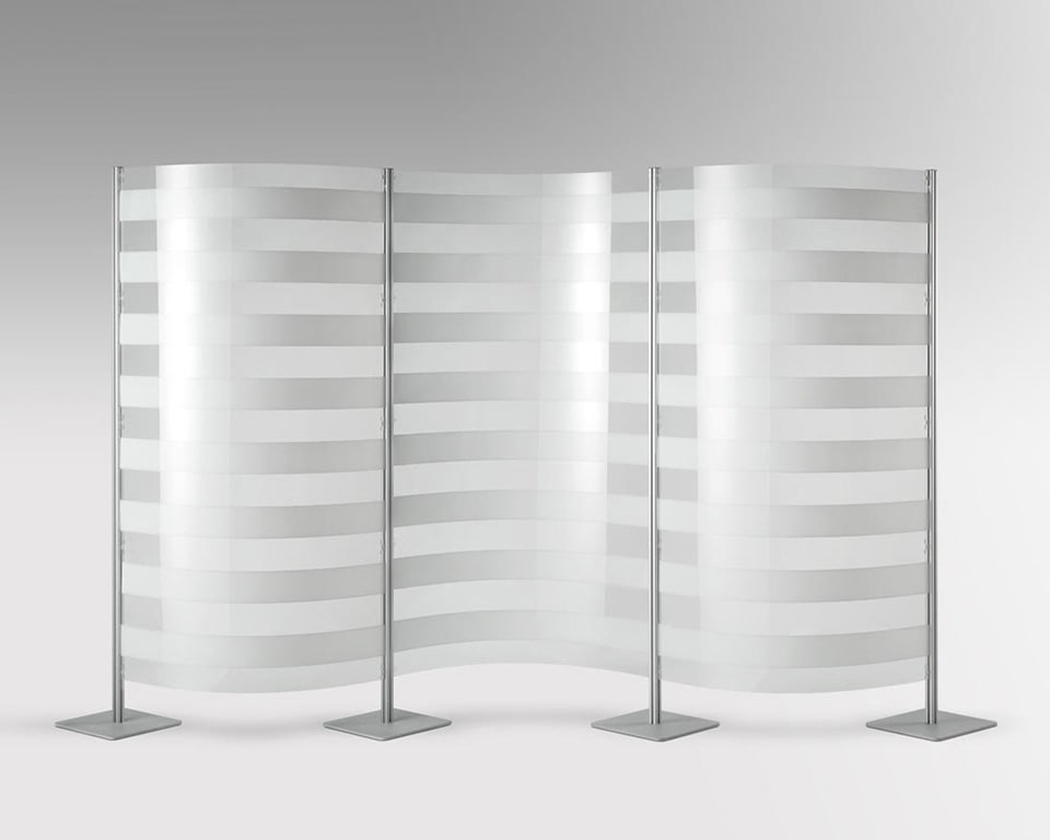 quinta free standing perspex screens in transparent or opaque versions