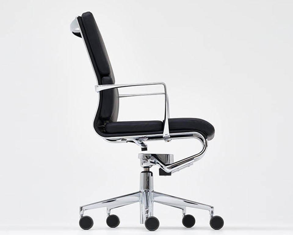 rolling frame padded Italian leather executive chairs and luxury home office chairs