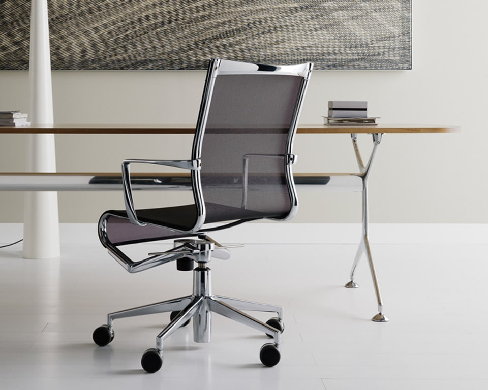 rolling black mesh home office and meeting room c