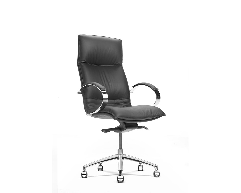 Sabal High back executive office chair with stylish chrome upholstered arms - front view