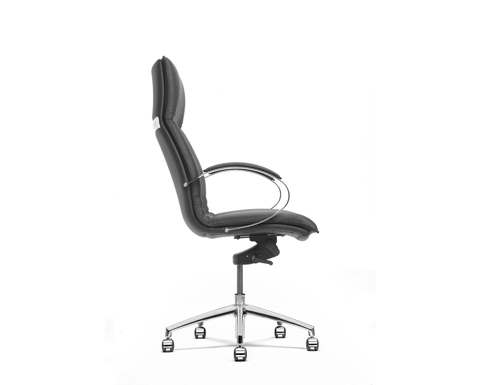 Sabal High back executive office chair with stylish chrome upholstered arms -side detail view