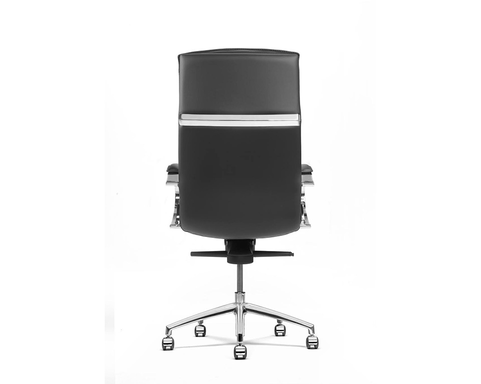 Sabal High back executive office chair with stylish chrome upholstered arms- back view steel blade detailing