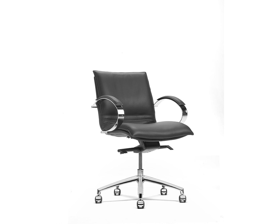 Sabal medium back executive office chair with stylish chrome upholstered arms- front view