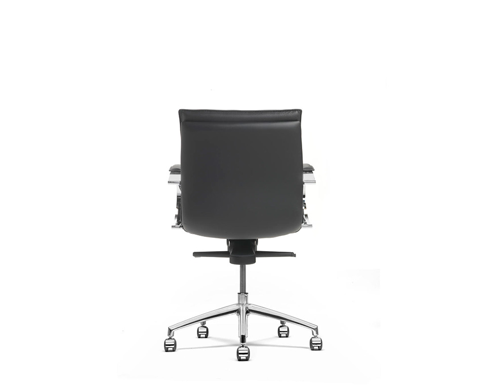 Sabal medium back executive office chair with stylish chrome upholstered arms- rear view