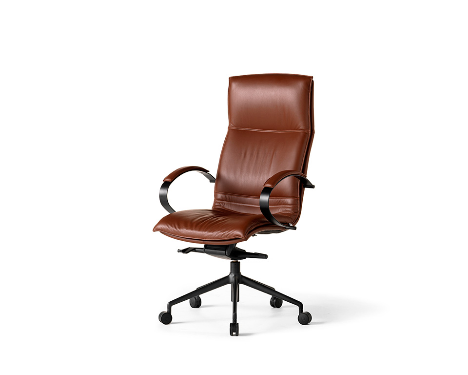 Sabal high back executive office chair with stylish chrome upholstered arms in dark brown G range leather