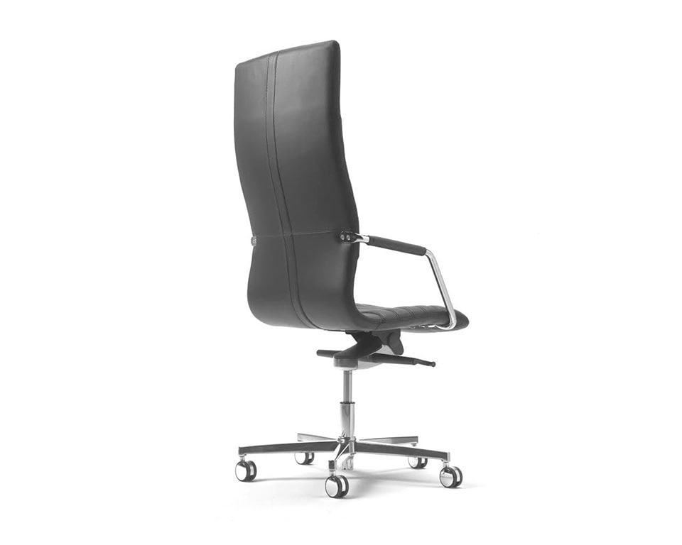 Tempo High back black Leather Executive chair with upholstered arms rear view detailing