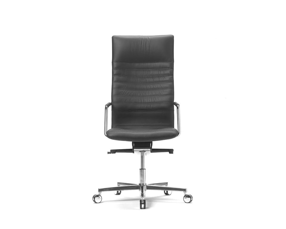Tempo High back black Leather Executive chair with upholstered arms