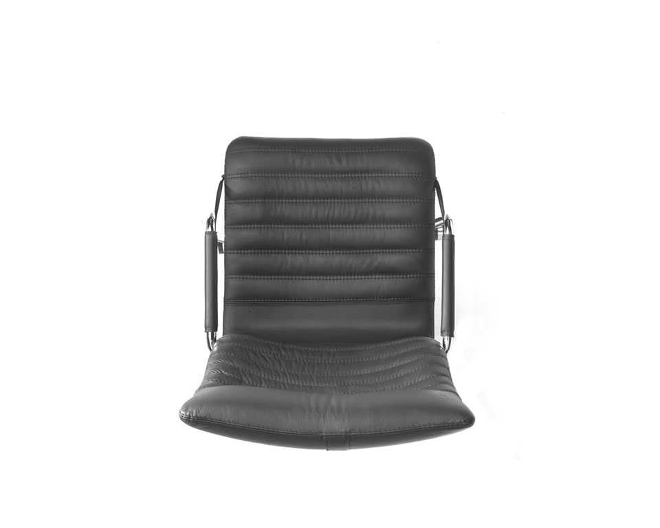 Tempo Medium High back black Leather Executive chair with upholstered arms double stitching detailing view from above