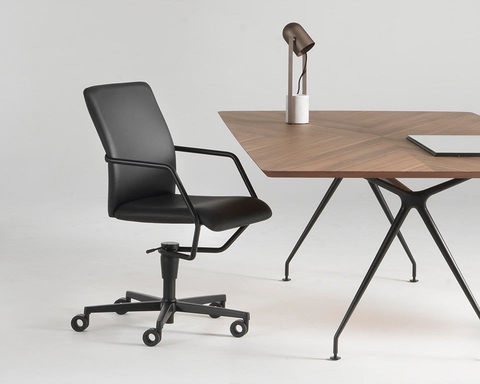 stylish home office designer office chair in black leather with a black frame