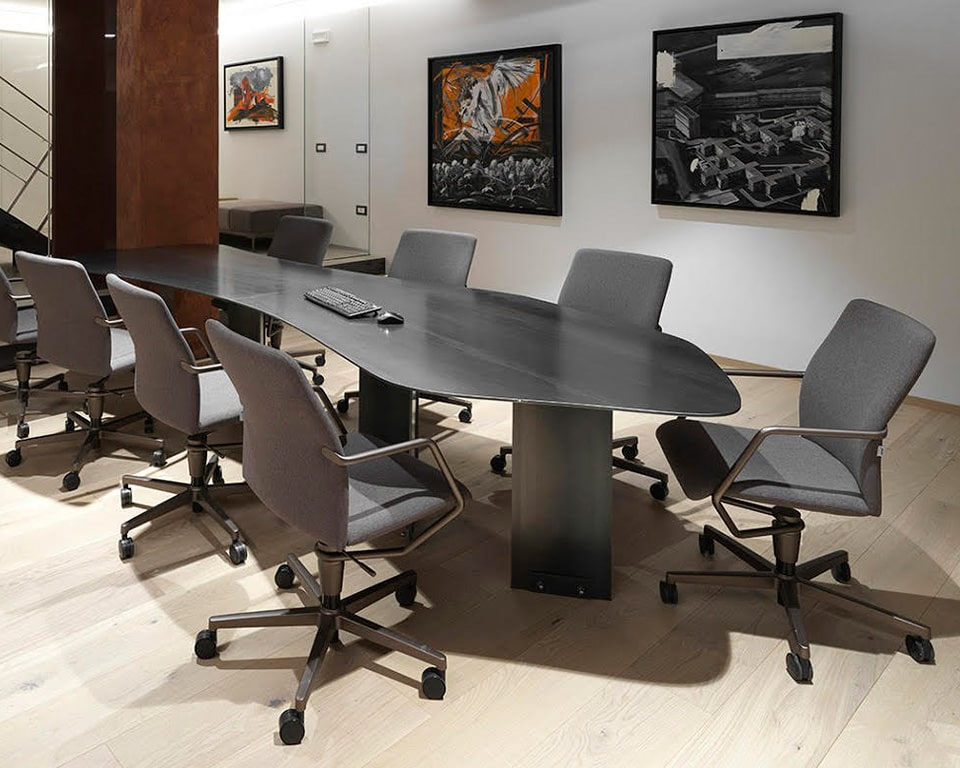 Tempo stylish Meeting room chairs and comfortable designer home office chairs in fabric or leather around a meeting table