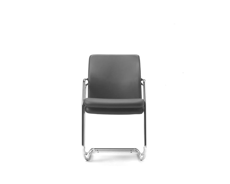 Tempo Meeting room chairs and cantilever visitors chairs in fabric or leather stackable chair view showing 2 chairs stacked