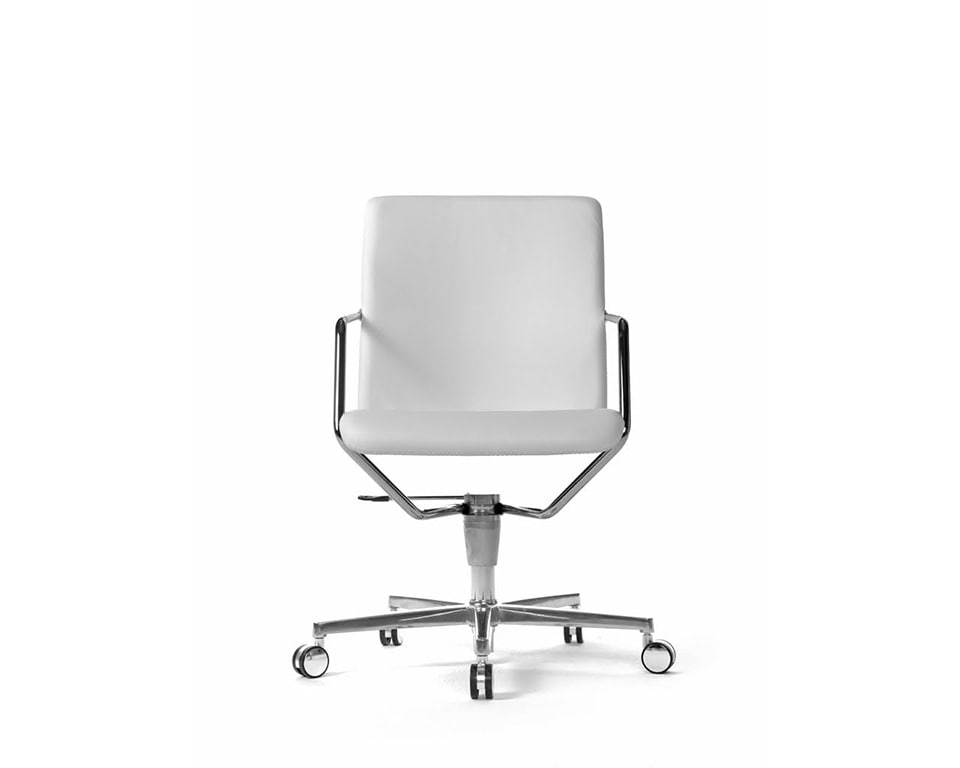 Tempo prestigious Meeting room chairs and home office chairs in fabric or leather with 4 spoke return swivel base in white leather front view