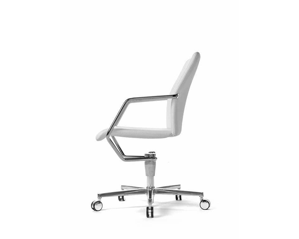 Tempo high end Meeting room chairs and home office chairs in fabric or leather with 4 spoke return swivel base in white leather side view