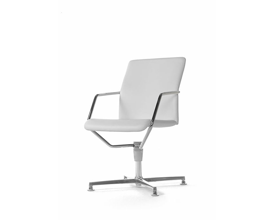 Tempo luxury Meeting room chairs in fabric or leather with 4 spoke return swivel base in white leather