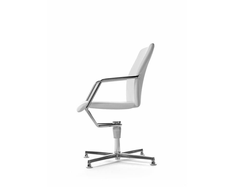 Tempo 4 spoke return swivel designer Meeting room chairs in fabric or leather with 4 spoke return swivel base