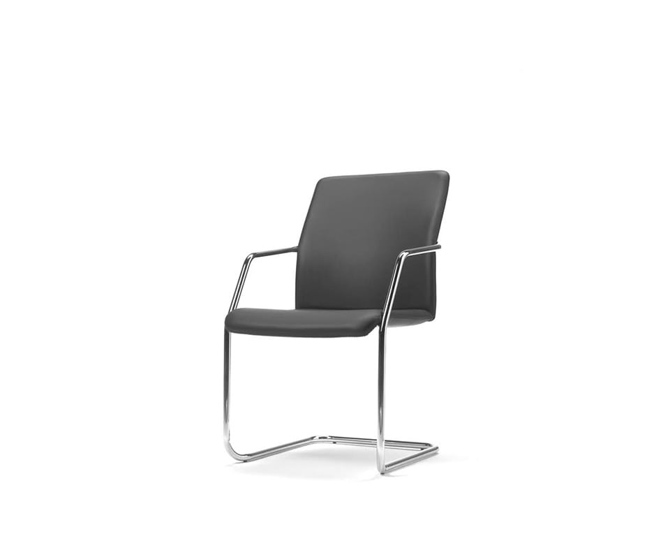 Tempo stylish Meeting room chairs and cantilever visitors chairs in fabric or leather stackable chair front view