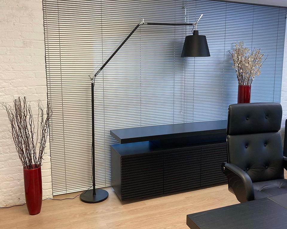 Tolomeo Mega LED Floor with black satin shade and black frame