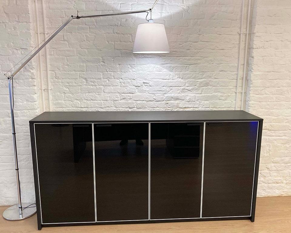 Tolomeo Mega LED Floor with satin shade and aluminium frame with black glass hinged door sideboard cupboard