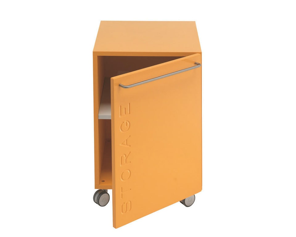 twist mobile under desk cupboard with a single hinged door in lacquered colours